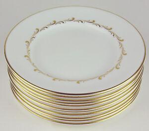 10-x-Bread-Plates-Royal-Doulton-Rondo-4935-English-Fine-Bone-China-Gold-amp-White
