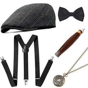 Mens-1920s-20s-Gangster-Set-Hat-Braces-Tie-Cigar-Gatsby-Costume-Accessories