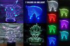 2017 NEW 3D Night Light LED Desk Bedroom Illusion Lamp Decor Pokemon Superhero