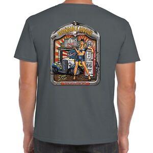 Mens-Hotrod-58-T-shirt-Hot-Rod-Service-Garage-Classic-American-Vintage-Car-38
