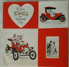 VINTAGE EMBOSSED DAD OLD CAR VALENTINE DAY SIGNED AMERICAN GREETING CARD
