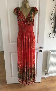 Mia-Suri-Maxi-Dress-Size-UK-14-Red-Orange-Green-Paisley-Summer-Womens-Lagenlook