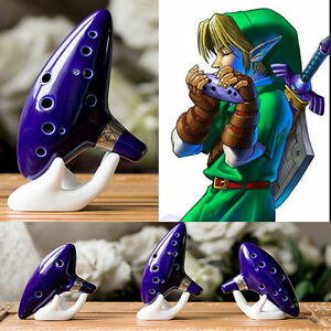 12 Hole Ocarina Ceramic Alto C Legend Zelda Ocarina Flute Blue Instrument USA