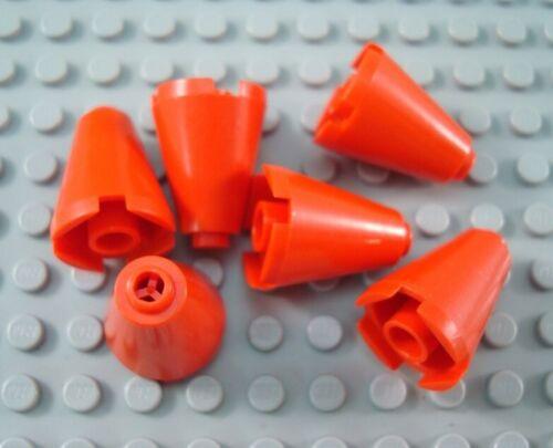 LEGO Lot of 6 Red 2x2x2 Brick Cones