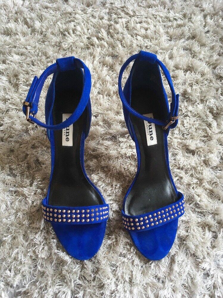 Dune Damenschuhe High Heel Cobalt Blau Suede Schuhes Studs Uk 4 37