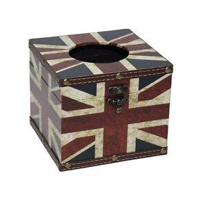 Image is loading Vintage-Union-Jack-Tissue-Box-Home-Office-Storage-  sc 1 st  eBay & Vintage Union Jack Tissue Box Home Office Storage Square Retro Gift ...