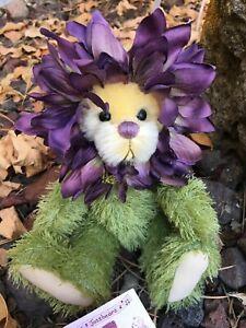 DILLY-DAHLIA-Artist-Mohair-Teddy-Bears-Virginia-Jasmer-Jazzbears-Floral-Vintage