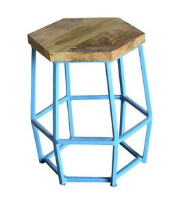 Industrial-taburete-Light-Blue-retro-metal-madera-Vintage
