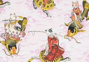 Alexander Henry Feline Fisherman Asian Cats 8643BR Pink Cotton Fabric BTY