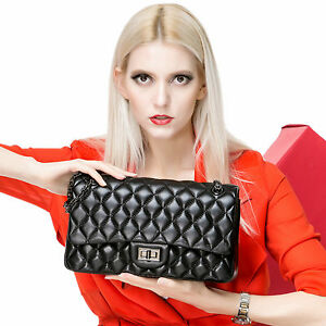 SG-Korea-Lambskin-Handbag-Quilted-Sheepskin-Leather-Double-Flap-Bag-Black
