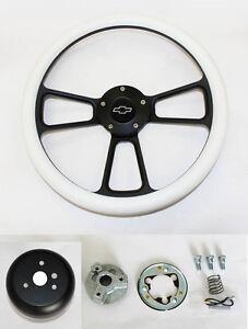 Blazer-C10-C20-C30-Chevy-Truck-Steering-Wheel-White-Grip-on-Black-14-034-Bowtie-Cap