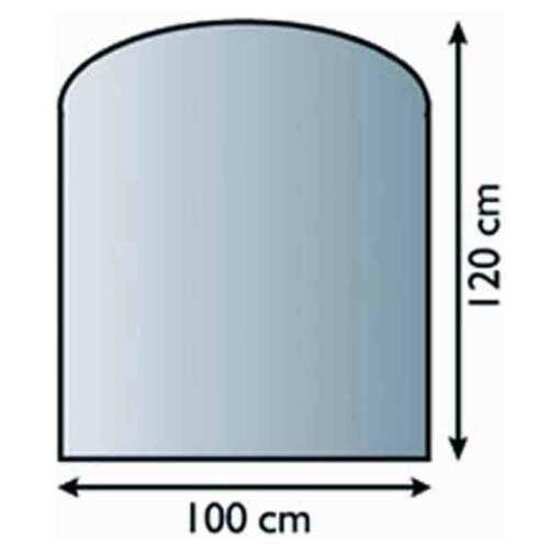 Glasbodenplatte 6 mm Segmentbogen 100 x 120 Kaminplatte Funkenschutz Platte Ofen
