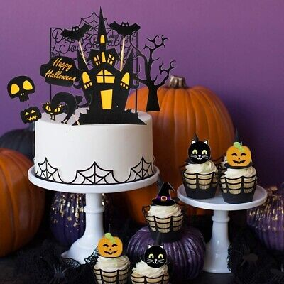 38 Halloween Cake Toppers Pack Creepy Cake Decoration Wizard Ghost