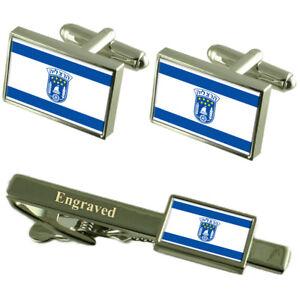 Herzliya City Israel Flag Cufflinks Engraved Tie Clip Set