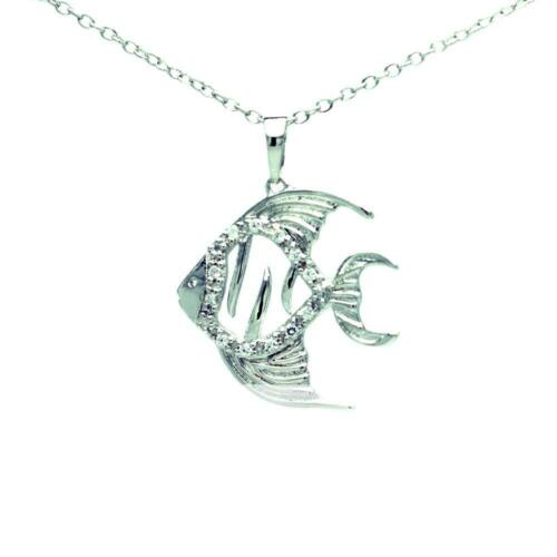 Sterling Silver Necklace w// CZ Stones TROPICAL FISH Pendant