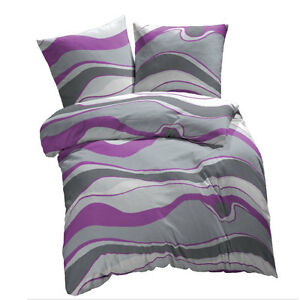 et rea microfaser bettw sche wellen lila pflaume 135x200 140x200 155x200 155x220 ebay. Black Bedroom Furniture Sets. Home Design Ideas