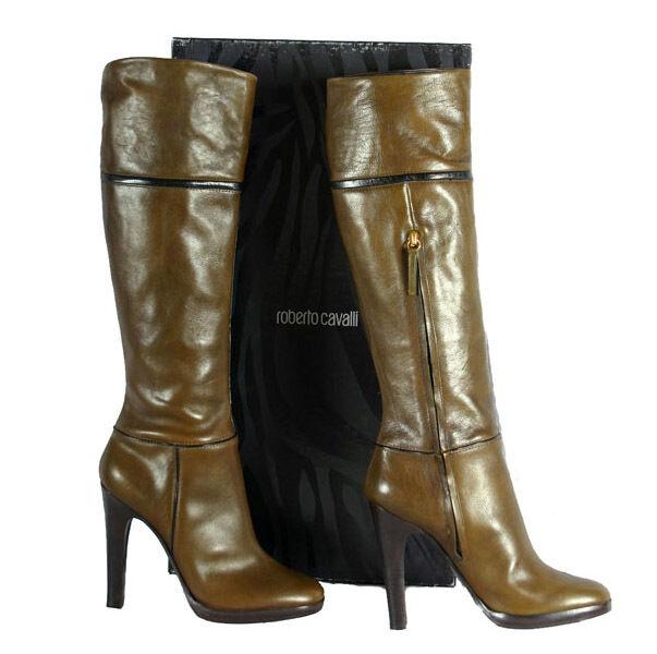 Nuevo Roberto Cavalli Cuero botas de plataforma 39,5 - 9,5