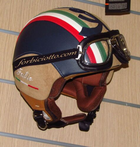 Casco ecopelle interno marrone personalizzato in pelle Bandiera Italiana Vespa