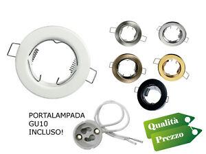 Porta-Faretto-orientabile-da-Incasso-Portafaretti-GU10-PORTALAMPADA-INCLUSO