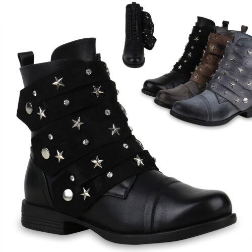 Damen Stiefeletten Biker Boots Schuhe Stiefel Nieten 823934 Trendy