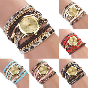 Women-Leopard-Print-Braided-Faux-Leather-Analog-Quartz-Bracelet-Wrist-Watch-Sigh