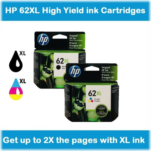 EXP 2020 HP 62XL High-Yield Single or Multi-Pack Ink Cartridges Black or Color