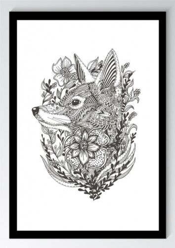 ungerahmt Bild DIN A4 A3 K0757 Mandala Fuchs Blume Kunstdruck Poster