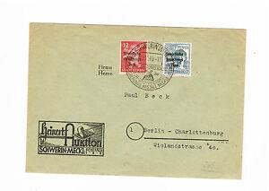 Sbz magnifique porto plus équitablement lettre à partir de schwerin avec sst N. Berlin MiNr. 204a +186-afficher le titre d`origine VhavR941-07152133-720118696