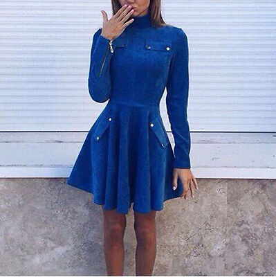 Womens Polo Neck Long Sleeve Mini Skirt Dress Winter Warm Jumper Pullover Dress