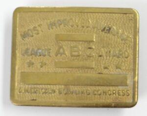 VINTAGE BELT BUCKLE ~AMERICAN BOWLING CONGRESS~MOST IMPROVED AVERAGE AWARD~Brass