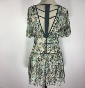 Free-People-Dress-Short-Sleeve-V-Neck-Strappy-Back-Drop-Waist-Size-L-NEW