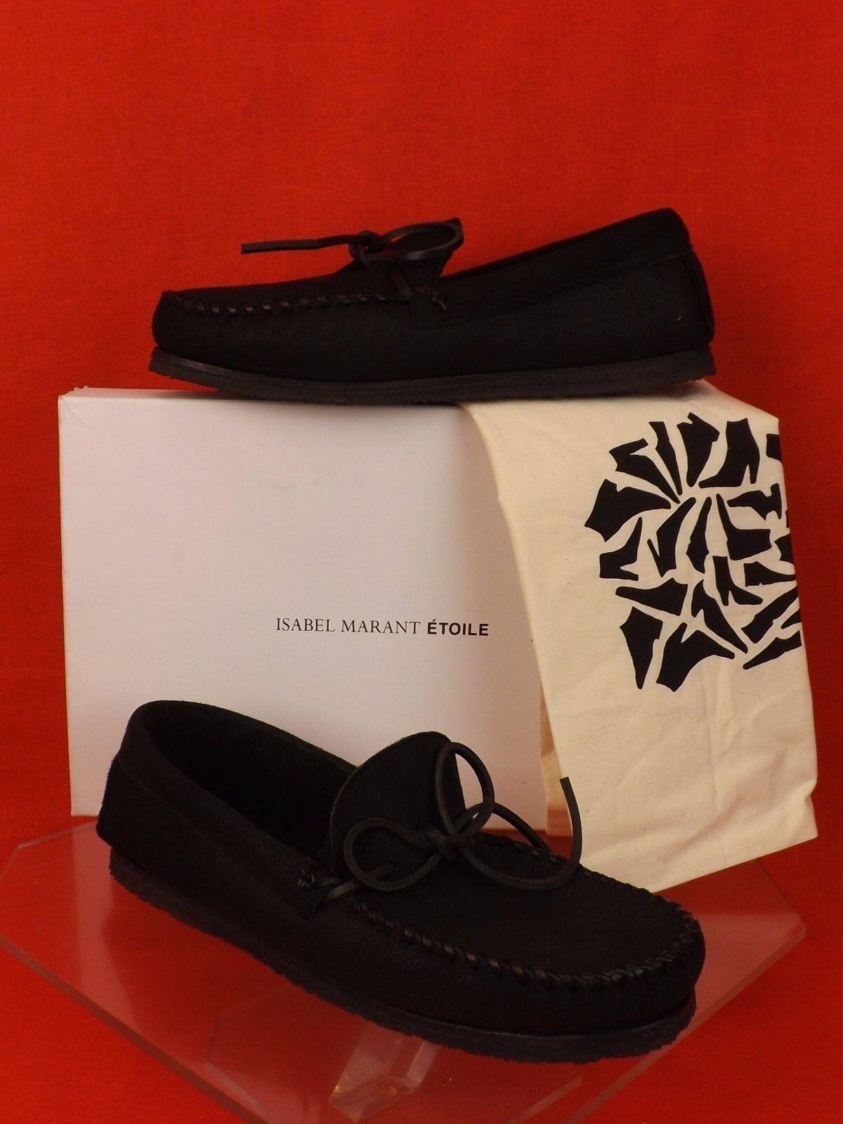 NIB ISABEL MARANT ETOILE negro LTH SHEARLING FELL ARAPAHO DRIVING zapatos 36  567