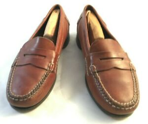 Johnston-amp-Murphy-Mens-Size-9-5-D-Brown-Leather-Moc-Toe-Penny-Loafer-Casual-Shoe
