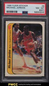 1986 Fleer Sticker Michael Jordan ROOKIE RC #8 PSA 8(st) NM-MT