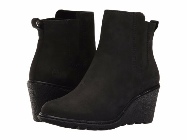 2262b55bc057 Timberland A19aj Amston Chelsea Women s Black Wedge Pull on BOOTS 6 ...