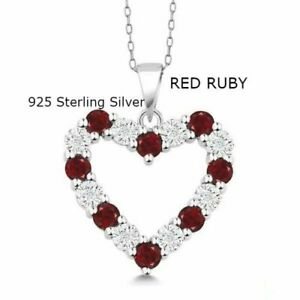 925 STERLING SILVER Heart NECKLACE PENDANT 1//10 CTTW DIAMONDS /& Lab RUBY