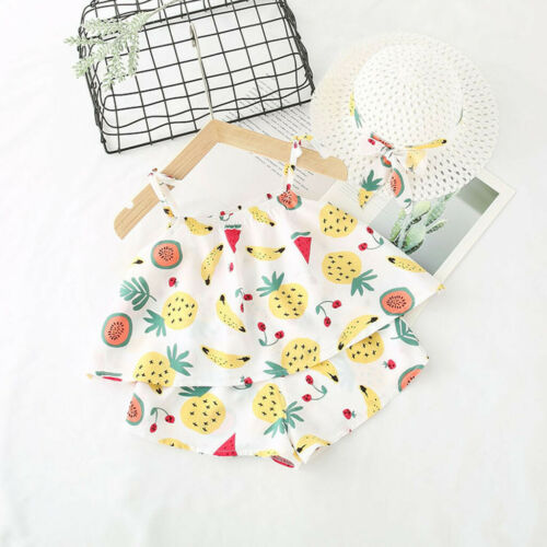 Infant Baby Kids Girls Fruit Strap Tops Shorts Outfits Hat Casual Clothing Set