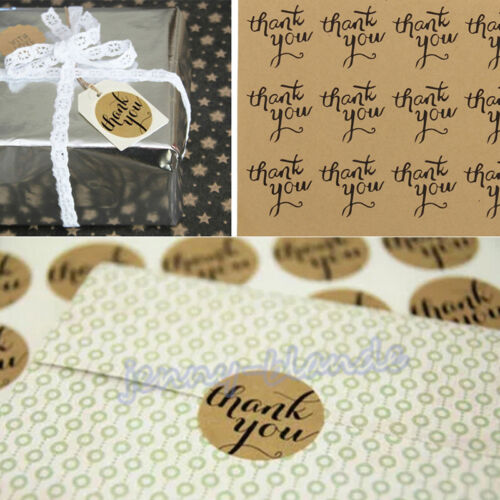 """120Pcs /""""Thank You/""""Letter Round Kraft Paper Packaging Seals Sticker Label Paper"""