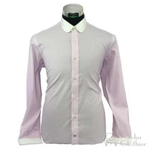 Details about  /Peaky Blinders Men Club collar Banker Baby Pink Cotton shirts Penny Round Gents