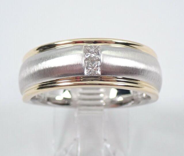 b025683d73 Mens Princess Cut Diamond Wedding Ring 14K Gold Anniversary Band Size 10