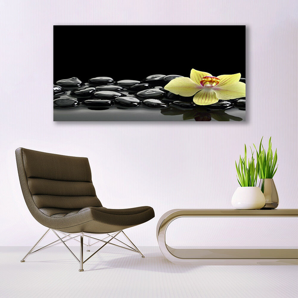 Leinwand-Bilder Wandbild Leinwandbild Küche 140x70 Blume Steine ...