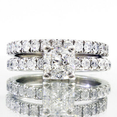 Jewelry & Watches 2019 New Style 3.13 Quilate Almohadón Y Redondo Corte 18ct Oro Blanco Diamante Set Nupcial Pleasant In After-Taste Fine Rings