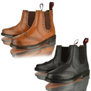 MENS-REAL-LEATHER-CHELSEA-DEALER-BROGUE-BLACK-TAN-LEATHER-SOLE-ANKLE-BOOTS-SHOES