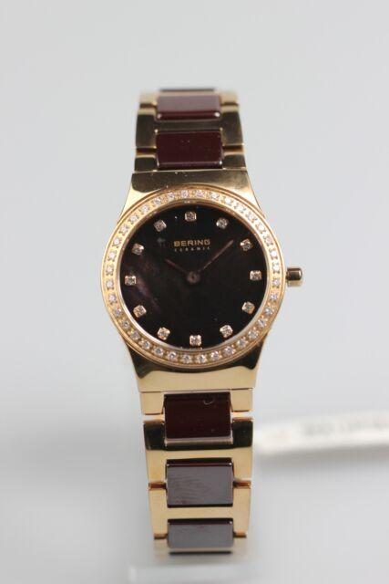 Armbanduhr Bering Quarz perlmutt Metallbd. Keramik rose vergoldet (#32426-765)