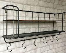 Wall Storage Shelf Rack Display Industrial Style Metal With Coat