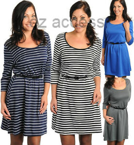Womens Plus Size Dress 3/4 Sleeve Striped Belted Retro Vintage ...