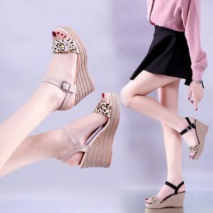 Women-039-s-Summer-Casual-Leopard-Open-Toe-Platforms-Sandals-Wedges-High-Heel-Shoes