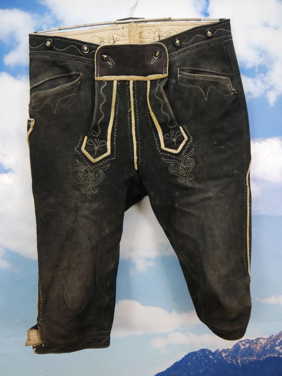 Schöne Gebrauchspuren alte Vintage Elch oder Hirschleder Lederhose black Gr.52