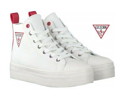 Scarpe da Donna Guess Bon alte in tessuto Sneakers suola alta con lacci bianche | eBay