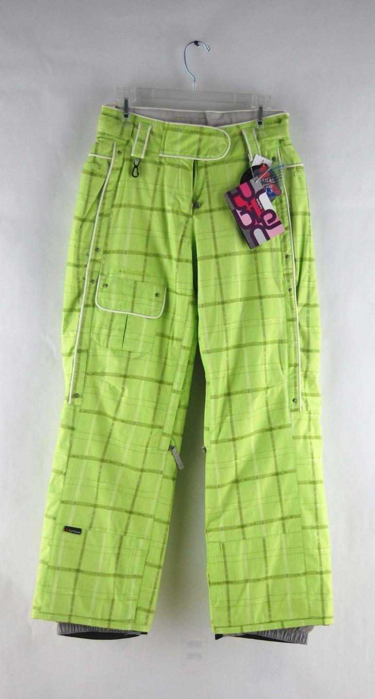 Turbine Boardwear Damenschuhe Raven Zipper Vented Ski Pants Lime-Aide Plaid Grün